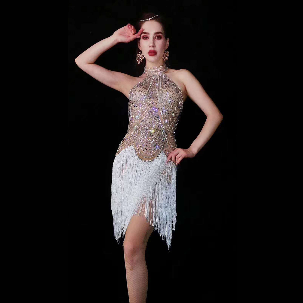 Silver Sexy Sleeeveless Tassel Rhinestone Dress Party Stage Dance Costumes DJ DS Pole Bar Gogo Dance Outfits Women Clothing