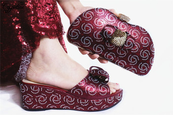 Nice Wedding/Party Pumps With Handbag African Wedge Heel Shoes And Purse Bag Set With Stones GL1912-5  Heel Height 7CM