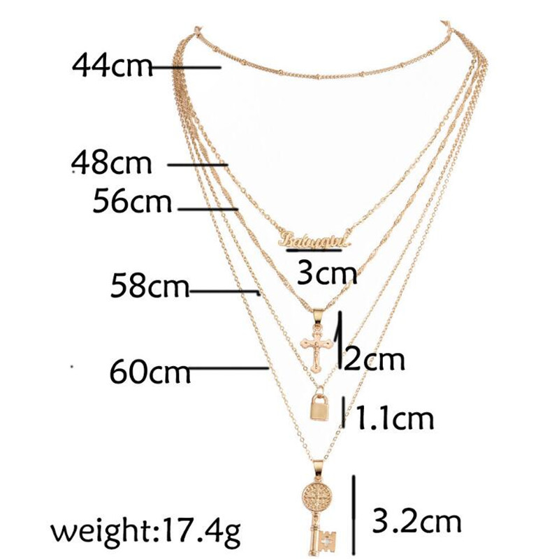 Fashion Multi-layer Key Lock Cross Word Letter Pendant Necklace Jewelry Gifts