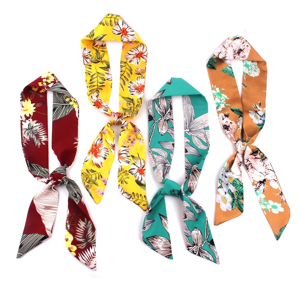 Small Scarf For Women New Print Handle Bag Ribbons Brand Fashion Head Scarf Chiffon Small Long Skinny  Head Wear Scarves