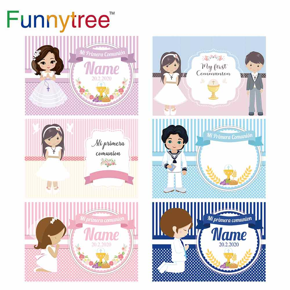 Funnytree First Communion Background for Photography Holy Cross Grail Custom Photozon Religious Customize Baptism Party Backdrop