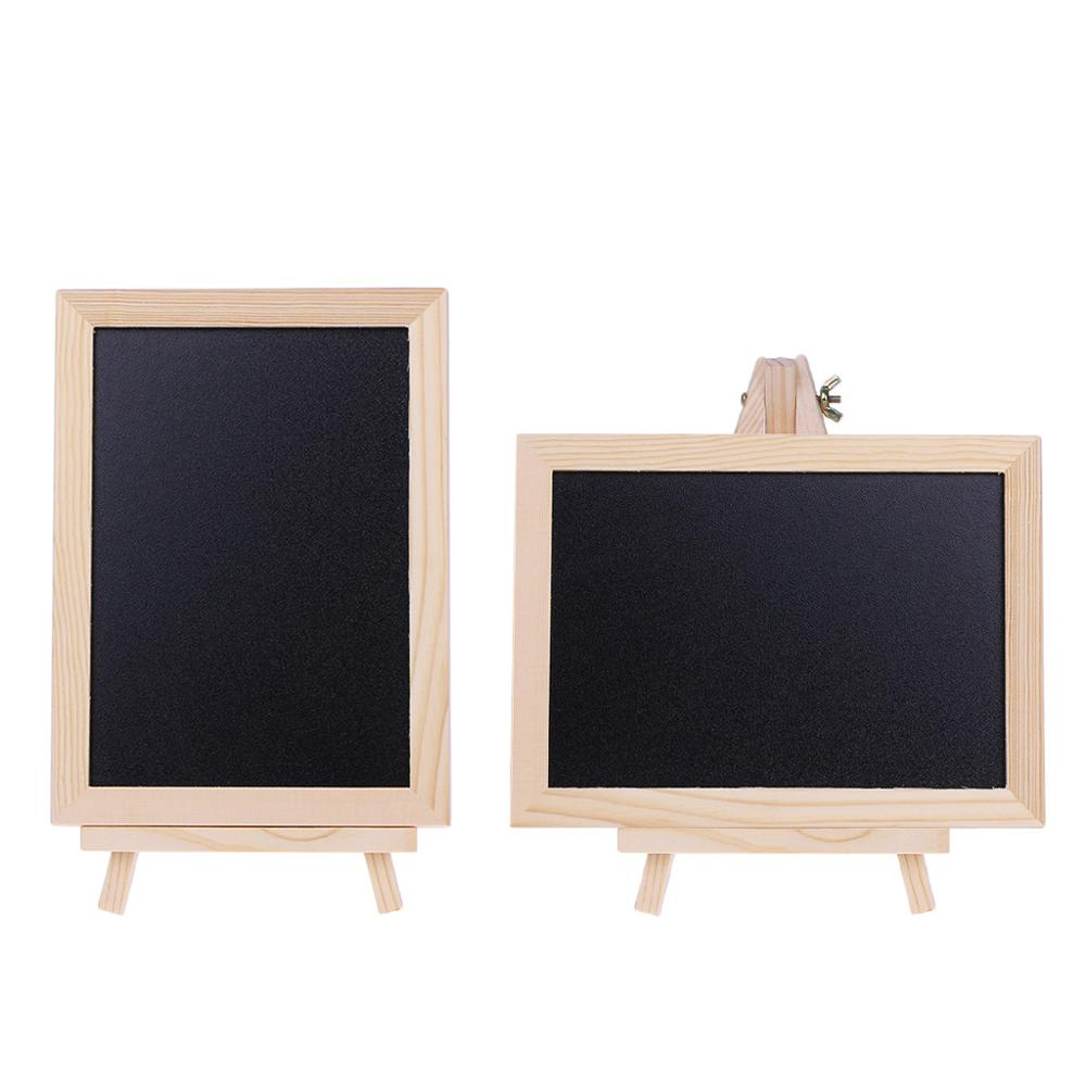 Wood Tabletop Chalkboard Double Sided Blackboard Message Board Children Kids Toy M17F