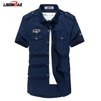 LiSENBAO Plus rozmiar M-6XL jakości letni męski mundur wojskowy styl mężczyzna dorywczo krótki rękaw koszula rozrywka krótki rękaw koszula tanie i dobre opinie Koszule COTTON Suknem Stałe Pojedyncze piersi Skręcić w dół kołnierz Na co dzień REGULAR 6028 Cotton blend tight type