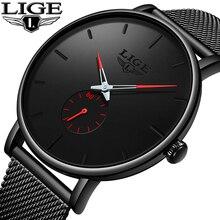 цены Relogio Masculino LIGE 2019 Fashion Sport Mens Watches Brand Luxury Waterproof Simple Watches Women Ultra Thin Dial Quartz Clock