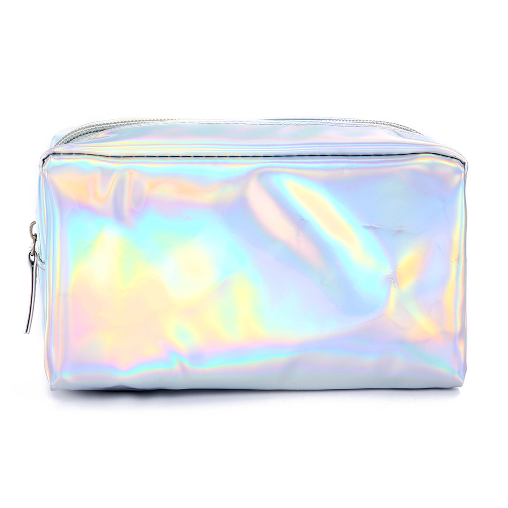 PU Holographic Laser Cosmetic Bag Ladies Zipper Portable Wash Toiletry Pouch Travel Makeup Beauty Organizer Tote