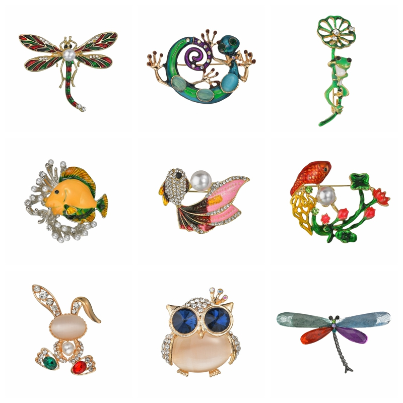 Terreau Kathy Brooch Pins For Women Dragonfly Butterfly Bee Owl Brooches Jewelry Fashion Wedding Party Jewellery Christmas Gift