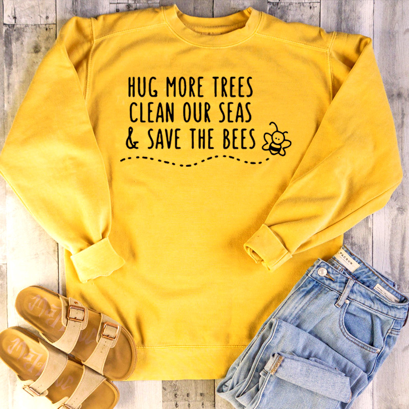 Femme Hug More Trees Clean Our Seas The Bees Pullover Womens Hoodies Oversized Sweatshirt Woman Long Sleeve Top Yellow Clothes