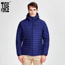 Tiger Force 2020 new arrival mężczyźni paski kurtki z kieszeniami wysokiej jakości usuwanie kaptur ciepły płaszcz kurtki zapinane na zamek parki 50629