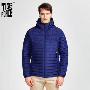 Image 1 - Tiger Force 2020 new arrival men striped jackets with pockets high quality removing hood warm coat outerwear zipper Parkas 50629