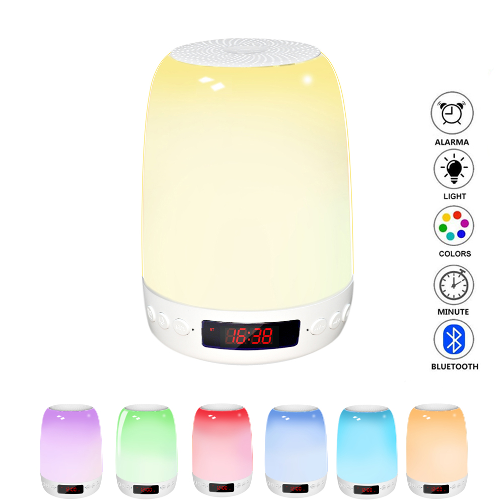 LED Colorful Smart Night Light Touch-Control Bedside Lamp Alarm Clock Wireless Bluetooth Speaker Night Light Gift RGB Colorful