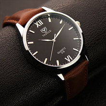 YAZOLE erkekler kuvars kol saatleri erkek klasik İş Casual İzle yumuşak deri Band koca bilezik Relogio Masculino saatler