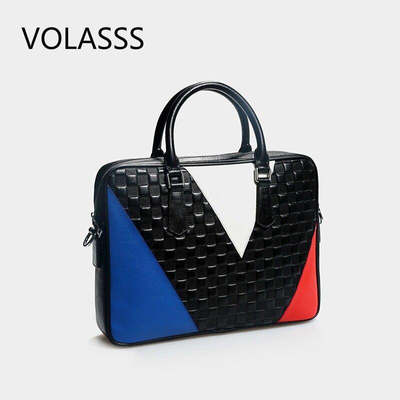 2020 New Unisex Genuine Leather Briefcase Men And Women Handbag 14