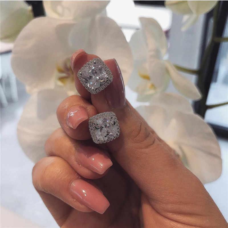 Choucong หรูหราแหวนต่างหูชุดเครื่องประดับ 925 เงินสเตอร์ลิง CZ งานแต่งงานแหวนต่างหูสำหรับเจ้าสาวเครื่องประดับ