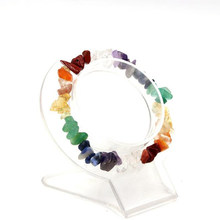 Unisex Multi-Color Beaded Stretch 7 Chakra Chipped Raw Natural Stone Yoga Healing Raw Quartz Chipped Crystals Bracelet(China)