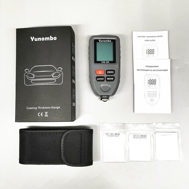 Yunombo цифровой дисплей автоматический измеритель толщины краски автомобиля фильм Толщина тестер толщины покрытия толщиномер с английским русским руководством - Цвет: Grey Color