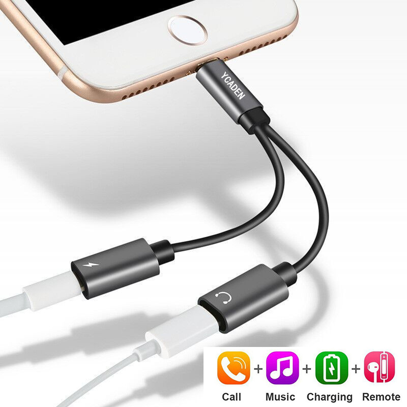 For Iphone 7 8 Plus Earphone Audio Charging Adapter Splitter Cable Music /Phone Call/Charging Audio Cable For Iphone X XR XS MAX