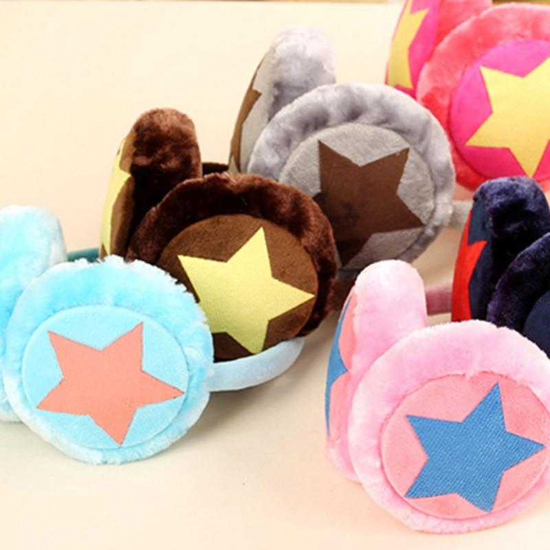 Adjustable Winter Ear Warm Earmuffs For Children Adult Star Plush Fur Ear Muff Ear Cover Cute Headband Gift For Girl Multicolor