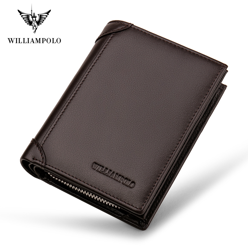 WILLIAMPOLO Cowhide Leather Men Wallet Short Coin Purse Small Vintage Wallet Brand High Quality Designer Wallet PL279