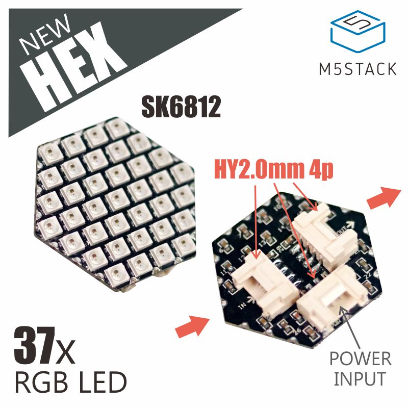 M5Stack New HEX RGB LED Board With SK6812 37pcs LED GROVE Port And Power Input Compatible With M5Stack UI-Flow