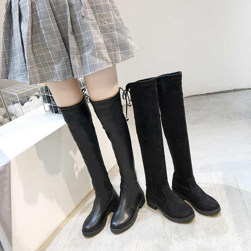 AGUTZM New Shoes Women Boots Black Over the Knee Boots Sexy Female Autumn Winter lady Thigh High Boots elastic Martin boots Y737