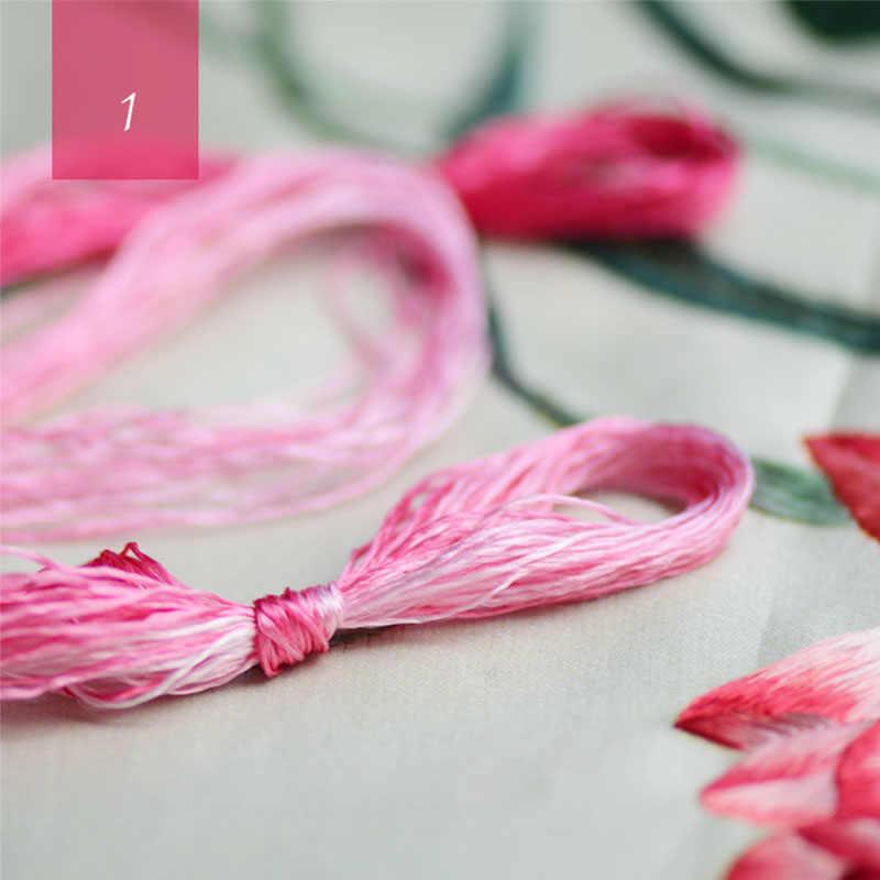Hoge kwaliteit gradiënt 100% zijde borduurwerk Suzhou borduurgaren zijde hand borduren 14 kleuren 20 meters/pcs
