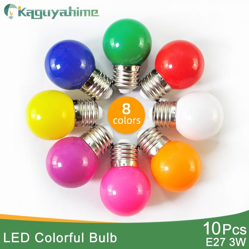 Kaguyahime 10pcs Colorful E27 Led Bulb 3W 220V LED Lamp E27 Globe Lampada SMD 2835 RGB Flashlight G45 Led Spot Light Bomlillas
