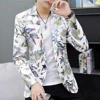Мужской Блейзер, повседневная куртка с цветочным рисунком, новинка 2020, корейский модный костюм, пальто, мужской большой размер 6XL, на одной п...