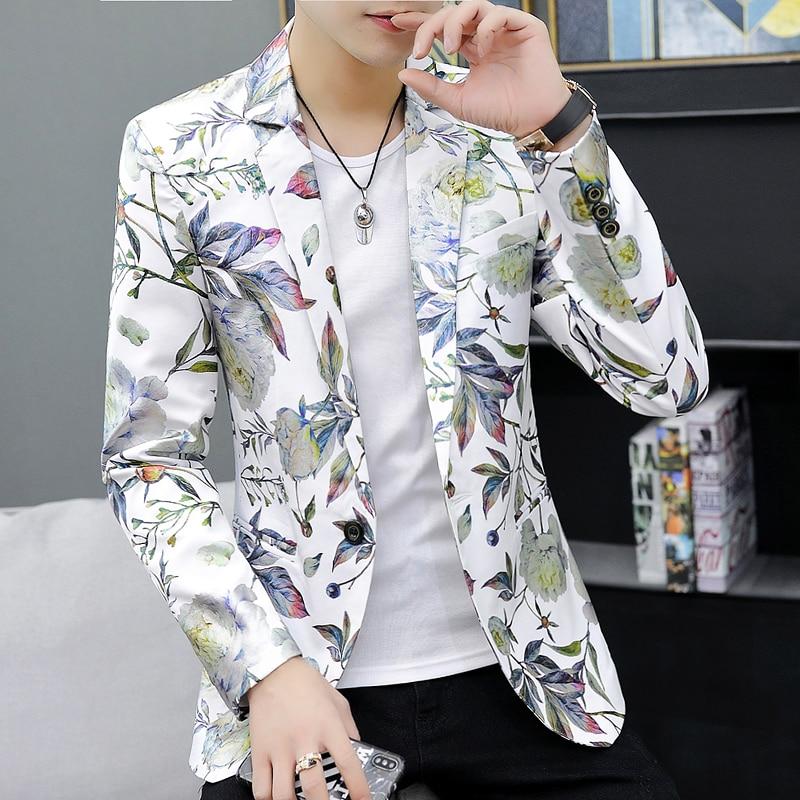 Men Blazer Casual Floral Jacket 2020 New Korean Fancy Suit Coat Male Plus Size 6XL One Button Quality Fashion Flower Blazers Man