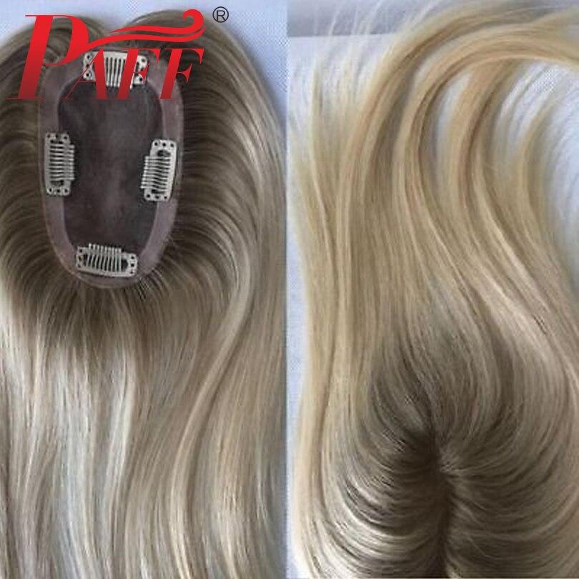 8 inch-20 inch düz dantel + PU Ombre renkli saç Topper peruk saç parçaları kadınlar için 100% Remy insan saçı peruk Haips 6x9cm