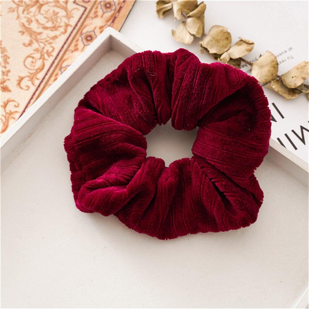 Новые рождественские золотые бархатные резинки для волос, прочные резинки для волос для девочек, резинки для конского хвоста - Цвет: Wine red