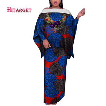 2020 Womens African Plus Size Clothing Skirt Set Off the Shoulder Traditional African Clothing Long Sleeve Party Dress WY7340