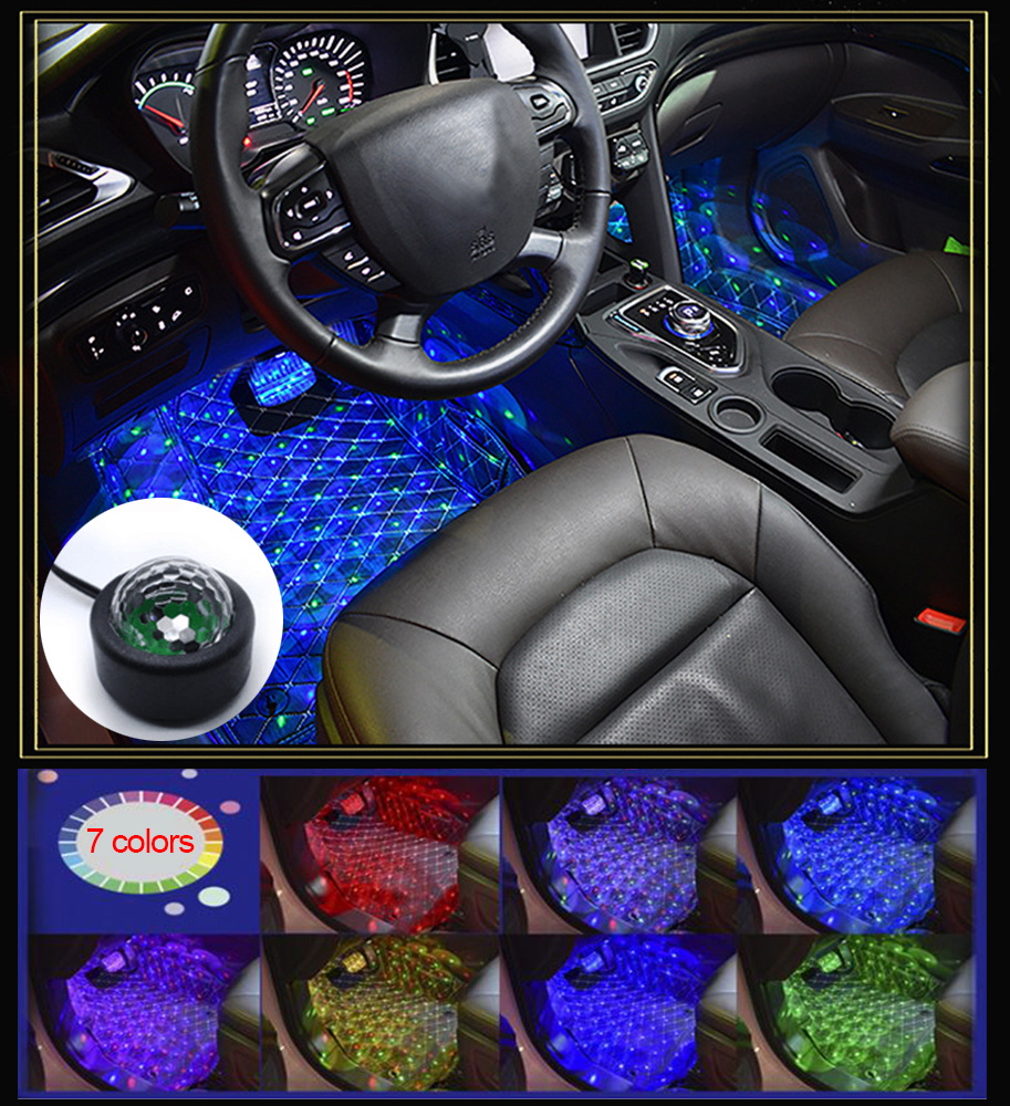 4 PcsMini Car Interior Decoration LED Lights USB Car DJ Disco Effects Lights 7 Colors Voice Control Star Laser Projector Light
