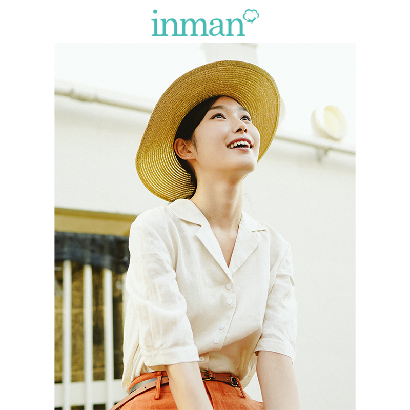 INMAN  Clear Linen Lapel Collar Half Sleeve All Matched Loose Women Blouse
