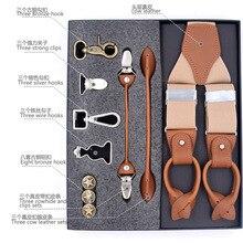 Moda deri kayışlar 8 kombinasyonları erkekler Retro rahat düğün parti DIY pantolon sapanlar koca hediye kutusu