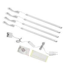 4Pcs Bar Kit Kitchen Night Light Under Cabinet Counter LED Light Indoor Bedroom Closet Stairway 220V Warm White