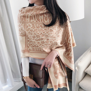 Image 4 - Leopard Print Winter Cashmere Scarf Women 2020 New Thick Warm Shawls and Wraps Summer Office Lady Air Conditioner Ppashmina