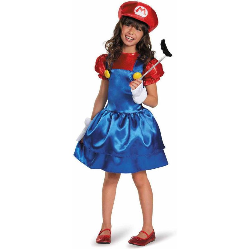 Girls Miss Mario Fancy Dress Cosplay Costumes Childs Fantasia Playset Super Mario Game Themed Halloween Carnival Party Dress-up 1