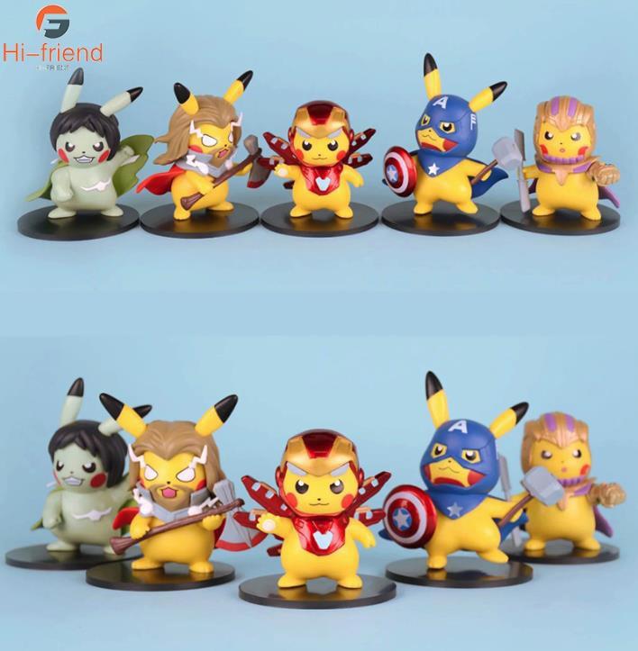 New Pikachu Cosplay Avengers Endgame Thor Thanos Hulk Iron Man Captain America Action Figure Speelgoed Pop Kerstcadeau Met Doos