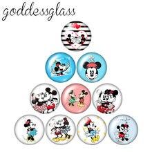Disney mickey minnie mouse amor casal 10 pces 12mm/18mm/20mm/25mm foto redonda de vidro cabochão plana volta colar fazendo descobertas