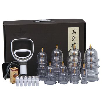 24 Cans Thick Jars Big Vacuum Cupping Set Chinese Medical Therapy Cellulite Body Massager Anti Rupture Cans Guasha Suction Cup