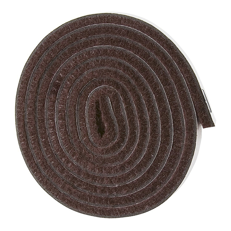 Self-Stick Heavy Duty Felt Strip Roll For Hard Surfaces (1/2 Inch X 60 Inch), Brown