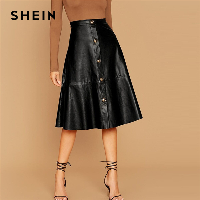 SHEIN Black Solid Single Breasted Leather Elegant Midi Skirt Women 2019 Autumn High Waist Office Ladies A Line Flared Skirts 1