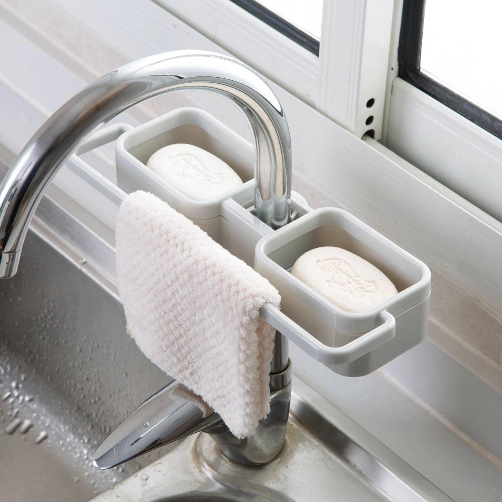 Kitchen Sink Caddy Sink Drain Rack Shelf Sponge Holder Rag Dishcloth Towel Holder Kitchen Organizer Sink Storage Rack