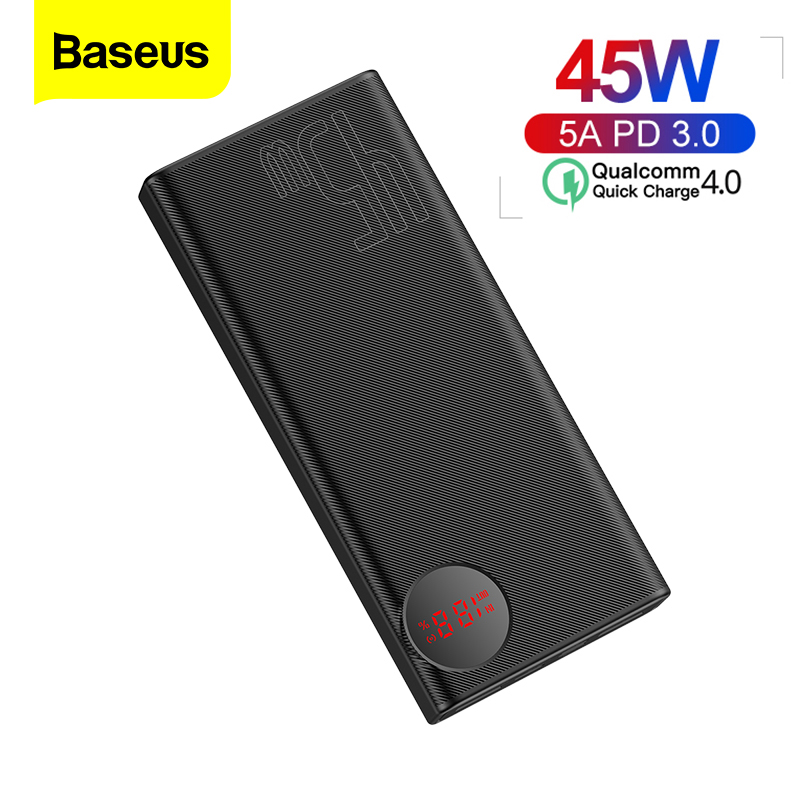 Baseus Power Bank 20000mAh Quick Charge QC 4.0 Portable Battery 45W Fast Charging Powerbank Portable Charger For IPhone Xiaomi