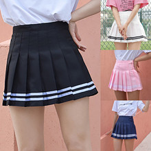 A-Line Skirt High-Waist Mini Fashion Summer Pleated Solid Slim Sweet Cute New