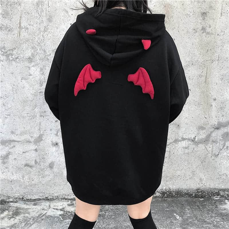 Fall Spring Women Letter Sweatshirts High Street Harajuku Cute Hoodies Punk Gothic Devil Horn Chic Hooded Pullover Loose Sweat