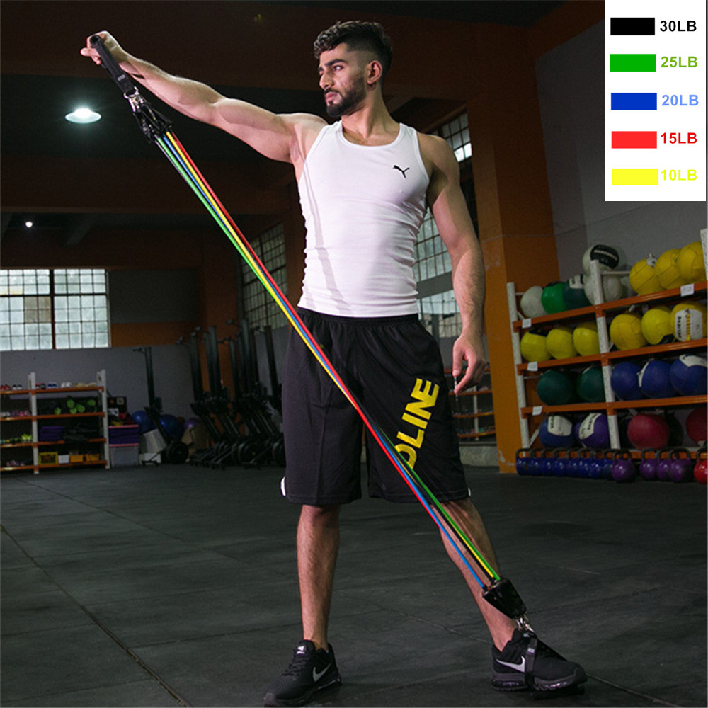 Купить с кэшбэком Muscle Training Latex Resistance Bands Gym Door Anchor Ankle Straps With Bag Kit Set Yoga Exercise Fitness Band Rubber Loop Tube