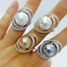 Godki 2020 na moda twist pearl statement anéis para mulheres zircão cúbico anéis de dedo contas charme anel boêmio praia jóias 2019