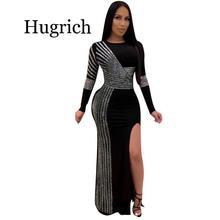 цена на Dress Women High street Evening Gown Side Slit Long Sleeve Prom party Dress sexy fashion new Dress women 2020