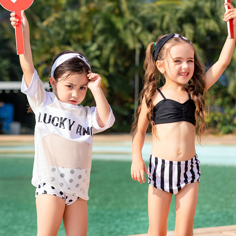New Style KID'S Swimwear Women's Infants Small Middle And Large Girls Split Type Three-piece Set Sports Hot Springs Sun-resistan
